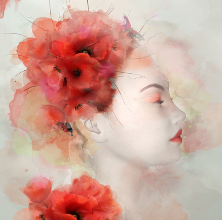 lady in red: Watercolor portrait of a woman with poppies Stock Photo