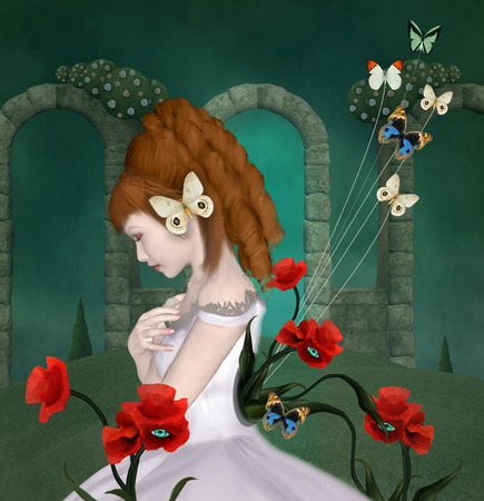 Vintage surreal illustration of a woman with poppies and butterflies