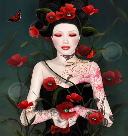 Surreal portrait of a woman with poppies Stock Photo