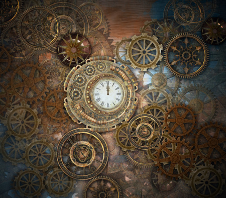 Rusty steampunk background with clock and gears Stock Photo