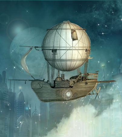 Steampunk airship flies over a futuristic town
