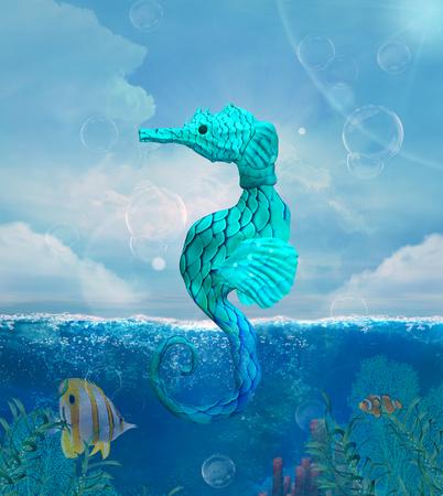Fantasy seahorse in a sea scenery