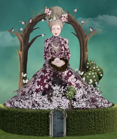 Surrealistische dame in een doolhof geïnspireerd op Marie Antoinette
