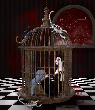 Zodiac series - Scorpio as a gothic girl in a cage with scorpions all around