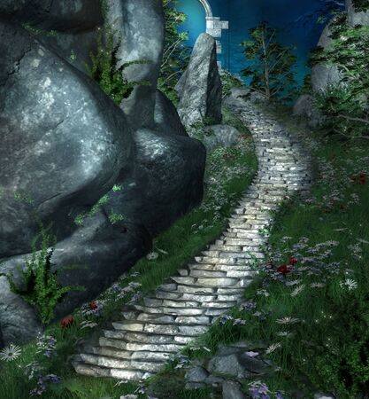a nocturne: Fantasy stairs by night Stock Photo