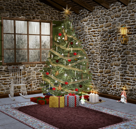 Christmas tree in an empty room
