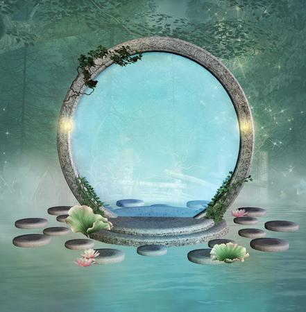 Fantasy portal in an enchanted lake