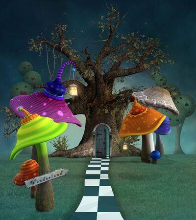 Wonderland-serie - Wonderland betoverd voetpad bij nacht Stockfoto