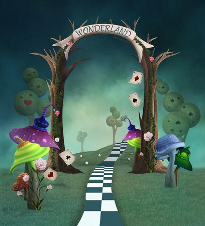 Wonderland series - Wonderland background with trellis, mushrooms and cads