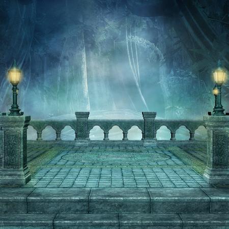 Fantasie balkon achtergrond met lantaarns Stockfoto