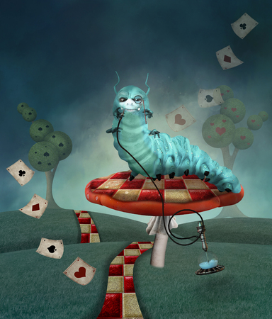 Wonderland series - Caterpillar on a mushroom in a country landscape Фото со стока - 92207350