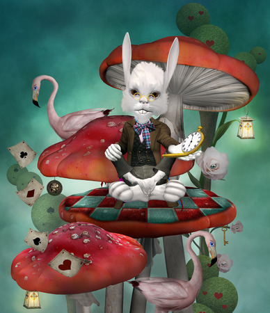 Wonderland series - Rabbit with clock sits on a mushroom Stock Photo