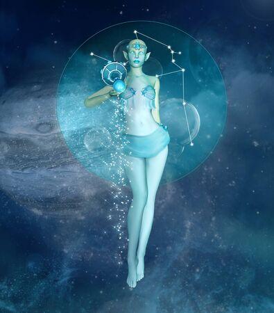 Zodiac seris - Aquarius as a fantasy creatures in a space scenery Stock Photo