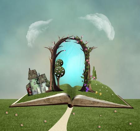 Apra il libro verde in un paesaggio della molla del paese