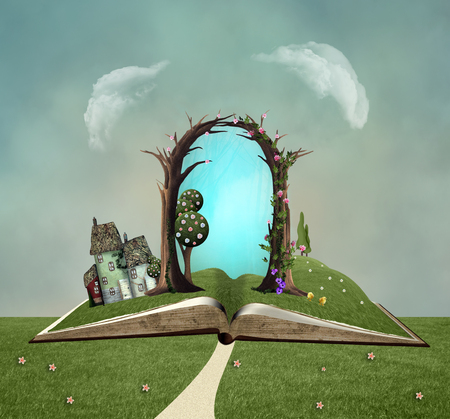 Open groen boek in een landschap van de lenteland