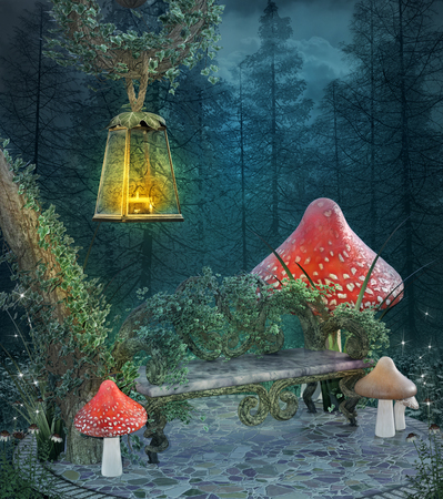 Fantasy enchanted resting place Stock Photo