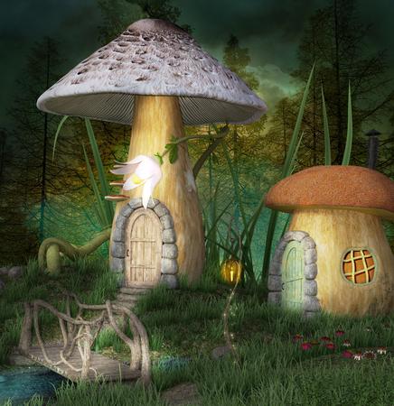 Fantasy elves village in the forest