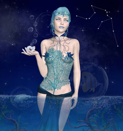 Zodiac series - Aquarius as a beautiful woman with a shell in her hand and a coral corset Stockfoto