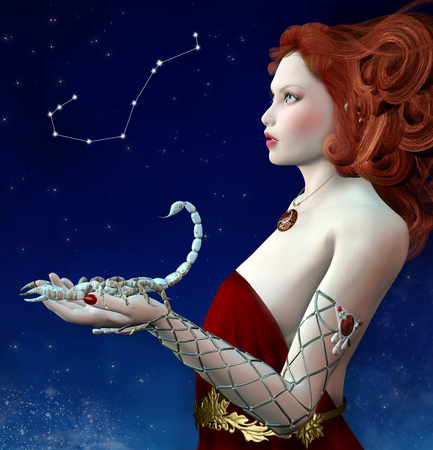 Zodiac series - Scorpio as a beautiful girl with a scorpion in her hand