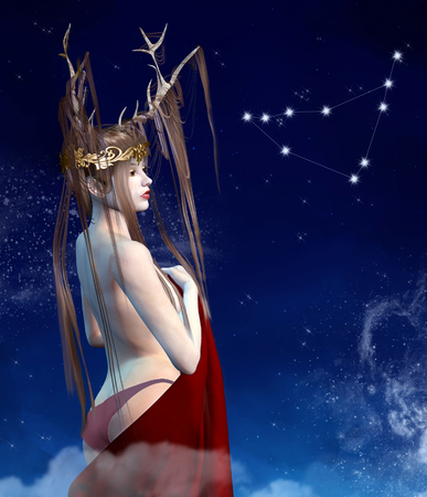 Zodiac series - Capricorn as a beautiful girl with crown and horns 写真素材
