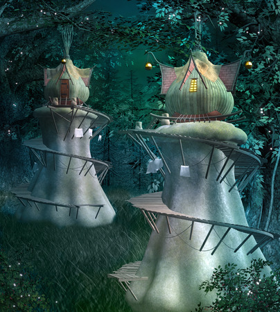 Elves fantasy town in the dark and fabulous forest Archivio Fotografico - 101923847