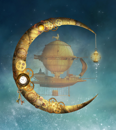 Steampunk illustration with moon and vessel Stock Photo
