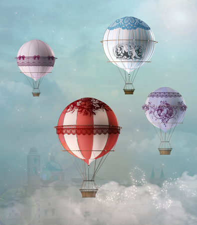 Vintage decorated hot air balloons. Fky in the sky Reklamní fotografie