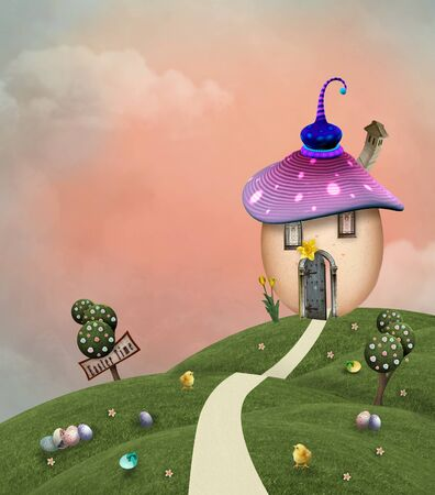 Spring background with a fantasy egg house on the hill - 3D mixed media illustration