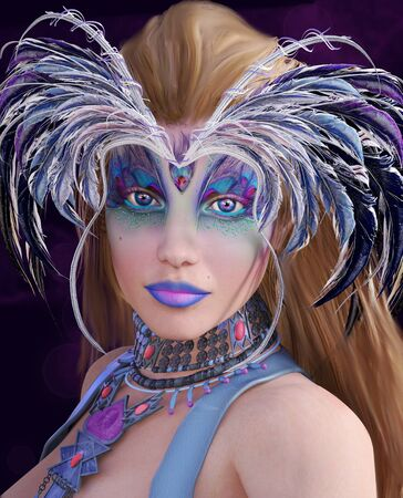Portrait of a woman with fantasy make up and feathers - 3D illustration Zdjęcie Seryjne