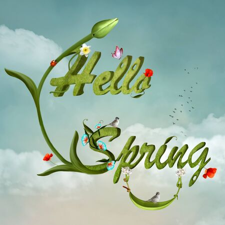 Hello spring background - 3D illustration with flowers and lovely birds