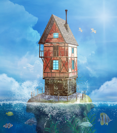 Fantasy house in a sea with colorful fishes - 3D mixed media illustration Stockfoto