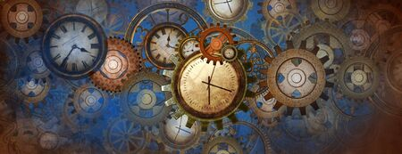 Industrial and steampunk blue background with clocks and wheels