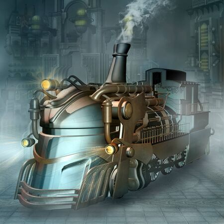 Steampunk train in a futuristic scenery