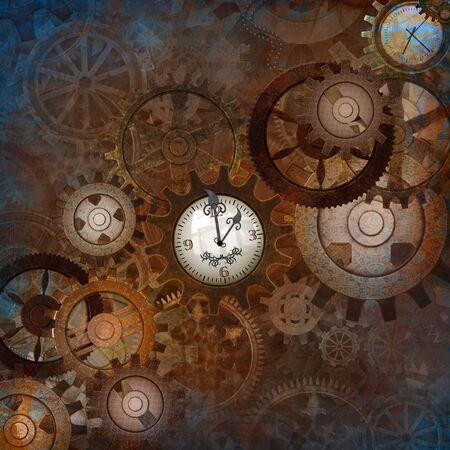 Das Konzept der Zeit, dargestellt durch einen Steampunk-Hintergrund im alten Stil