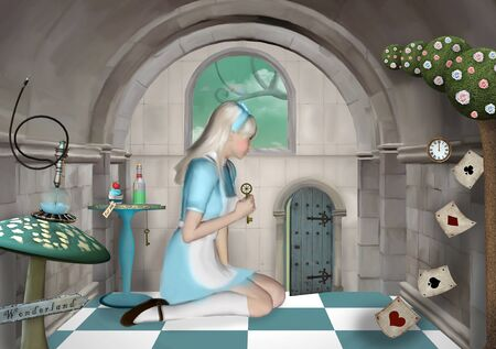 Surreal room with a little Alice opening a magic passage with a key