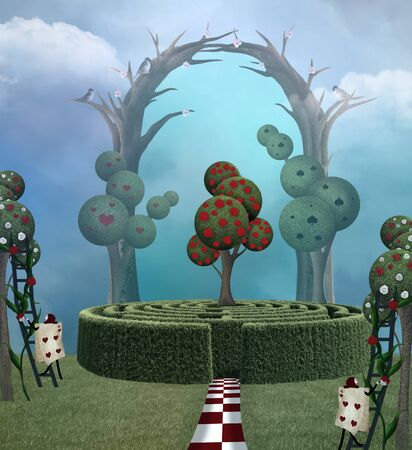 Magic trees in a surreal landscape inspired by Alice in Wonderland fairytale Zdjęcie Seryjne