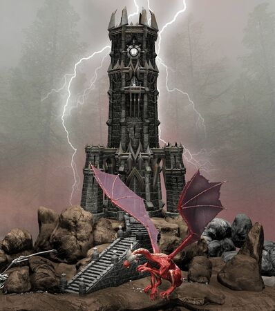 Gothic black forest with a red dragon by a medieval tower