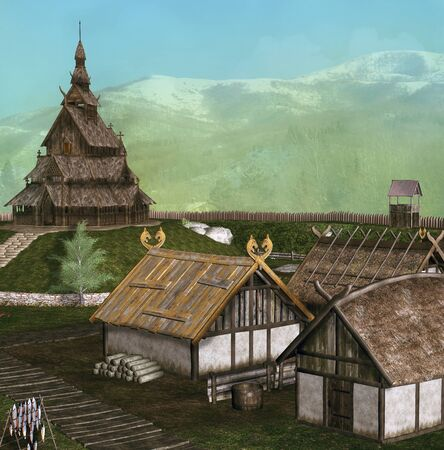 Ancient medieval vikings village by the snowy mountains