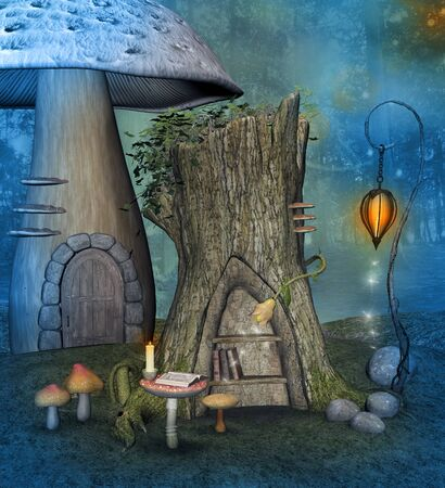 Elf secret library in the blue forest Imagens - 137732786