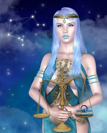Zodiac series - Libra astrological sign as a sexy woman with blue eyes