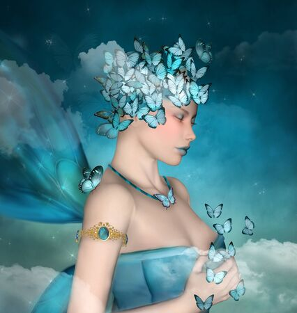 Surreal portrait of a woman with blue butterflies - 3D render