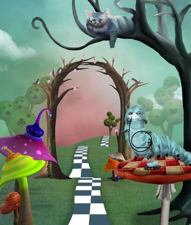 Wonderland series - cheshire cat, colorful magic mushrooms and a caterpillar