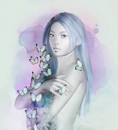 Sketch of a fantasy beautiful woman with flowers and butterflies? 3D render
