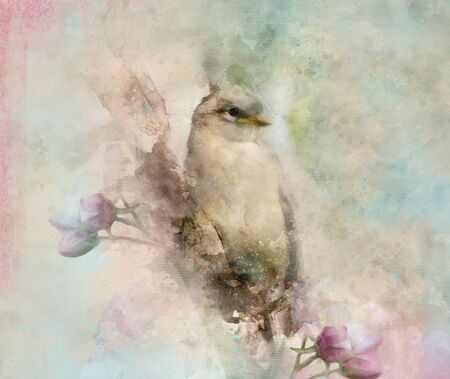 Lovely bird on a floral branch in watercolor style? photomanipulation and digital painting illustration