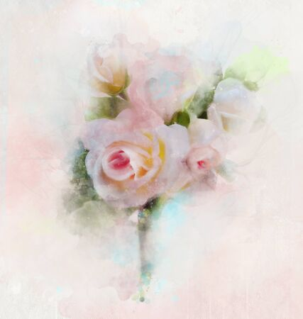Spring and summer flowers collection - romantic frame with lovely pink roses in digital watercolor style