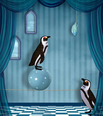 Surreal conceptual illustration with two penguins and hanging fish
