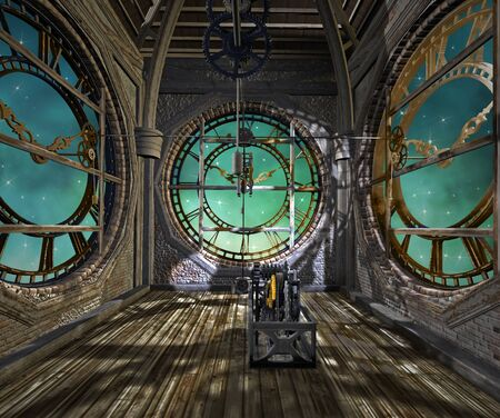 Clock tower interior in a steampunk style