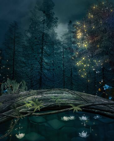 Pond in a dark forest with water lilies and shining lights
