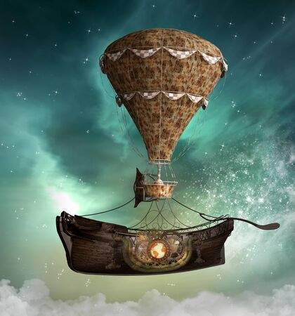 Fantasy steampunk airship taking an old vessel through the enchanted sky