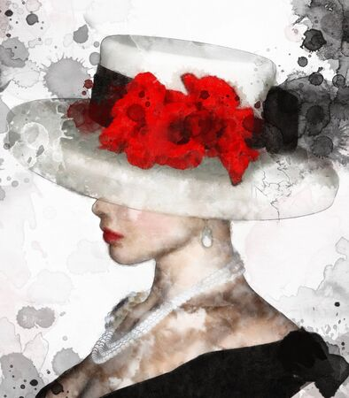 Portrait of a charming woman with hat and red flowers? digital watercolor illustration Zdjęcie Seryjne
